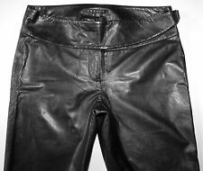 Theory Women's Black Soft Leather Bootcut Pants Wrap Around Waistband 6 X 32 EUC