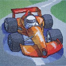 KL69 Racing Car Cross Stitch Kit by Vanessa Wells from Goldleaf Needlework