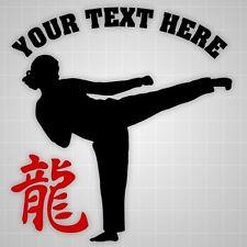 Taekwondo girl Personalized wall decal, Dragon hieroglyph wall gym vinyl decal