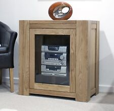 Pemberton solid oak living room furniture hi-fi entertainment cabinet unit
