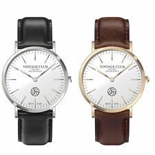 Genuine Leather Strap Unisex Round Wristwatches