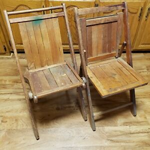 (2) Pair Vintage Rustic Wood Slat Folding Seat Stadium Auditorium Chairs