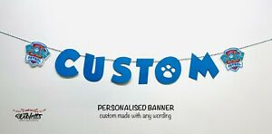 PERSONALISED CUSTOM BANNER PAW PATROL PUPS INSPIRED THEME BIRTHDAY PARTY BLUE
