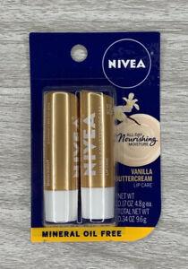 Nivea 2 pack Nourishing Moisture  vanilla buttercream lip balm .34 ounces