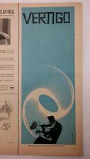 1958 Alfred Hitchcock Vertigo Blue Original Half Page Print Ad Saul Bass Art