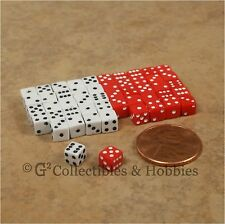 NEW 5mm 50 Red White Mini Dice Set RPG Game Miniature 3/16 inch Tiny D6 Koplow