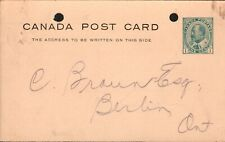 "Canada Postal Stationary ""Vermont Marble Co."" Toronto to Berlin ON Postmk-1906"