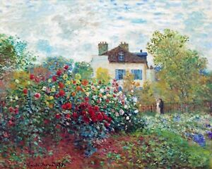 Claude Monet's Garden W Dahlias Flowers Painting Real Canvas Fine Art Print