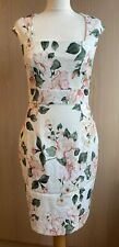 Phase Eight Cream/Pink Floral Pencil Dress UK 10 Races Wedding Occasion