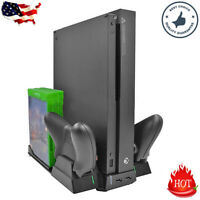 Vertical Stand Cooling Fan 2×Controller Charging Dock Game Holder For Xbox One X