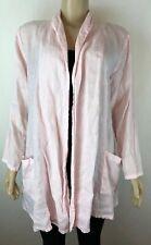 MATCH POINT Linen Cardigan Open Front Medium Pink Layer Top Pockets M Womens