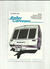 BAILEY PAGEANT, CHIEFTAIN AND CORSAIR CARAVAN SALES BROCHURE 1987 + PRICES/MORE
