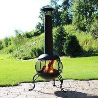 "Sunnydaze 66"" Chiminea Wood-Burning Fire Pit Steel Black Finish and Rain Cap"