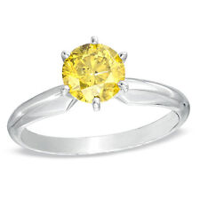 3.50 Ct Round Yellow Canary Real 950 Platinum Solitaire Engagement Wedding Ring