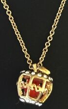 New Disney Arribas Swarovski Crystal Snow White Red Poison Apple Necklace