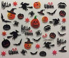 Nail Art 3D Decal Stickers Halloween Witch Jackolantern Bat Vamprie Teeth YGA122