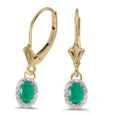 10k Yellow Gold Oval Emerald and Diamond Earrings