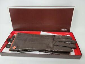 Coach Women's Brown Leather Cashmere Gloves Sz 8