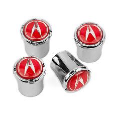 Acura Red Logo Chrome Tire Valve Stem Caps USA MADE QUALITY
