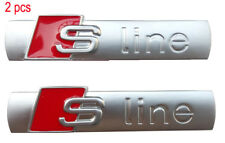 2 pcs For Audi Sline S Line 3D Emblem Logo Badge Chrome Car Side Body Sticker