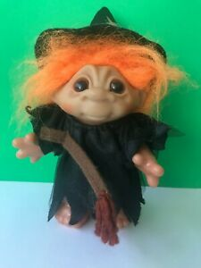"""1984 DAM Halloween WITCH TROLL Doll Orange Hair Broom 9"""" Tall Collectible"""