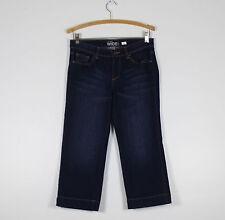 NEW YORK & COMPANY dark wash stretch denim low rise cropped wide leg jeans 4