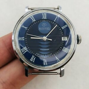 RARE Vintage VOSTOK Blue USSR Watch Wrist Soviet Russian 17 jewels Old Beauty