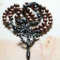 Rosary Bronze Paracord Black Metal Beads Cross Wearable Necklace Catholic Mercy