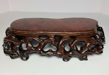 """Antique Chinese Carved Wood Root Form Stand 12"""" Long"""