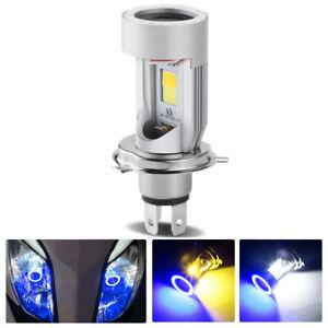 H4 9003 LED Headlight Hi/Lo Beam White Yellow Bulb Blue Angel Eye For Motorcycle