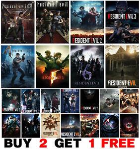 Resident Evil Video Game Poster Art Print Wall Home Room Decor CAPCOM PS XBOX PC