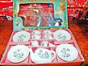 Vintage 1950's Child Tea Set Porcelain China Made in Japan EXC  W/Original Box