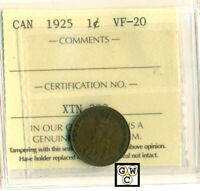 ICCS Canada 1925 1cent Coin ; VF-20 ; Certification No- XTN 320 ; LHM