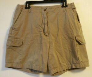 Woolrich Women Sz 14 Denim Cargo Shorts Khaki Zipper Pocket