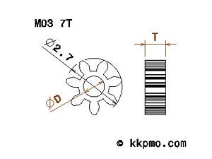 Zahnrad M0,3 / Bohrung D 1,45mm / Breite T 2mm / Zähne 8 bis 38 / POM-C