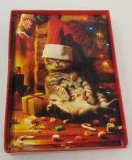 Cat with Candy Box of 14 Cute Cat Avanti Christmas Cards