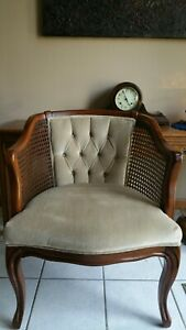 Vintage Fairfield Cane Barrel Back French Regency Style /Accent Chair