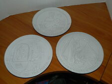 3 Frankoma White Glazed Wall Decorative Plates Bible Story Jesus Christian