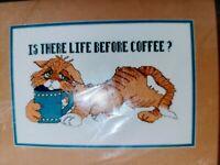 Cross Stitch Kit Kappie Original Ltd. Is There Life Before Coffee Cat New