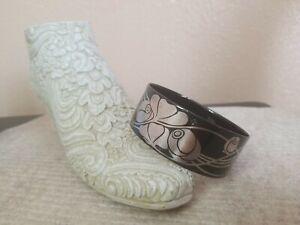 Vintage Micheala Frey Black & Silver Enamel Bangle Art Nouveau Style