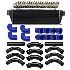 "12pcs 2.5"" Blue Coupler + Black Silica Gel Piping + Intercooler + T-Bolt Clamps"
