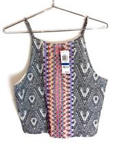 New Material Girl Juniors Sleeveless Printed Aztec Crop Tank Top Cami Gray $44
