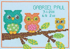 Cross Stitch Mini Kit ~ Colorful Owl Family Baby Birth Record #70-73699