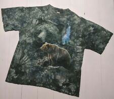 Vintage 90 Green Tie Dye T-Shirt Bear Mens L Forest Hunting Waterfall Large