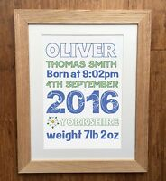 Personalised Birth Details Prints by EllieBeanPrints - Christening - New Baby