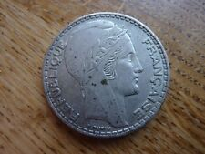 1938 France 20 Franc Large Silver Coin (refD4)
