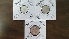RUSSIA EMPIRE 1915 LOT OF OLD SILVER 3 COINS 10,15,20 KOPEKS.