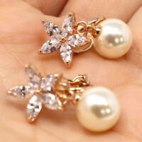 Vintage Antique 6mm Akoya Pearl Stud Earring Women Jewelry Gift Rose Gold Filled