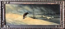 Alfred von Wierusz-Kowalski; 'The Lone Wolf', Original Oil/Board Painting c 1920