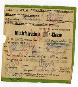 Fahrkarte Militärfahrschein Kriegsende Okt. 1918 Rendsburg Hamburg Regiment